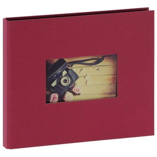 """""""STUDIO"""" 25x21cm - à spirales cachées - 120 photos 10x15cm - 60 pages traditionnelles noires (Framboise + fenêtre)"""