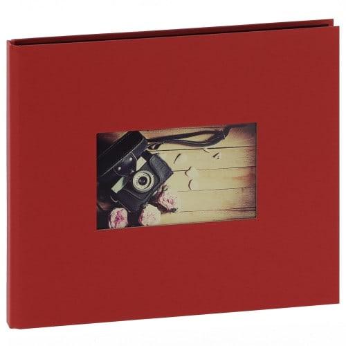 """""""STUDIO"""" 25x21cm - à spirales cachées - 120 photos 10x15cm - 60 pages traditionnelles noire (Rouge + fenêtre)"""