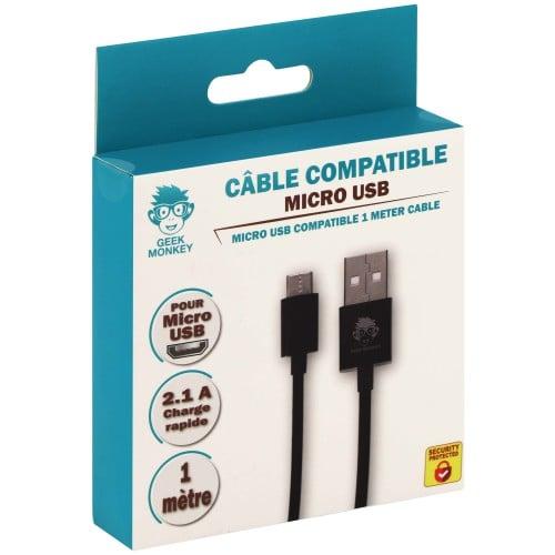 Câble compatible Micro USB 1 mètre 2.1 A Quick charge noir