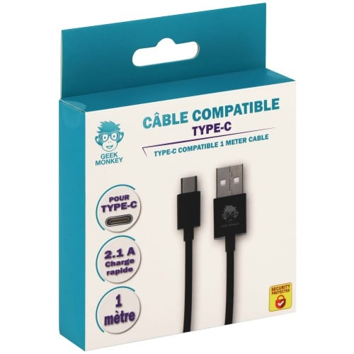 compatible Type-C et USB-A 2.1 - Charge rapide - 1 mètre - Noir
