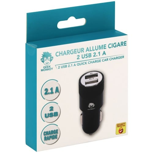 Chargeur allume-cigare 2 USB 2.1 A Quick charge noir