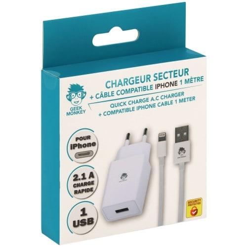 Chargeur secteur 1 USB 2.1 A blanc +câble compatible IPhone 1m blanc*