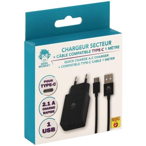 Chargeur secteur 1 USB 2.1 A noir + câble compatible Type-C 1m noir *