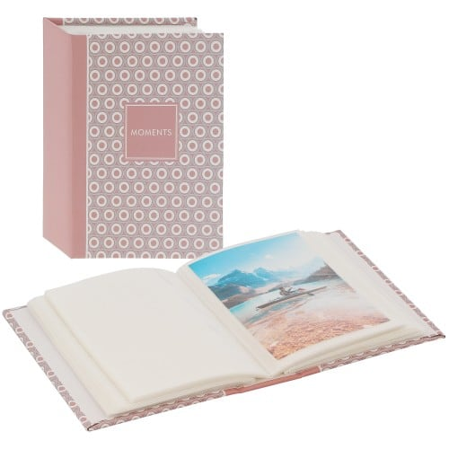 GOLDBUCH - Mini album pochettes sans mémo PURE MOMENTS - 100 pages - 100 photos - Couverture Rose 12x16,5cm
