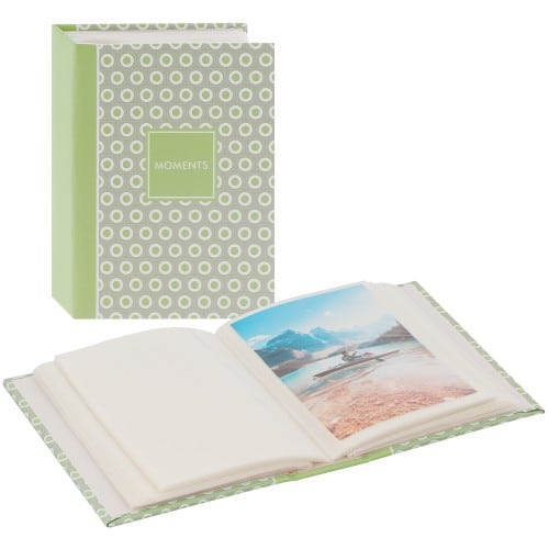 GOLDBUCH - Mini album pochettes sans mémo PURE MOMENTS - 100 pages - 100 photos - Couverture Verte 12x16,5cm
