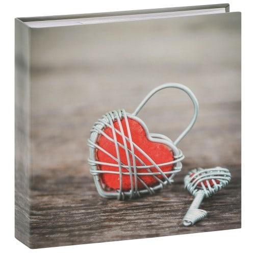 pochettes avec mémo Rustico Metal Heart - 100 pages blanches - 200 photos - Couverture Turquoise 22,5x22cm + poche CD