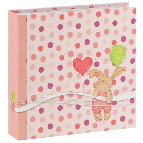 pochettes avec mémo PETIT LAPIN - 100 pages blanches - 200 photos - Couv. Rose 22x22cm
