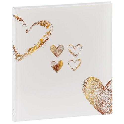 HAMA - Album photo traditionnel LAZISE - 50 pages blanches + feuillets cristal - 250 photos - Couverture Blanche dorée 29x32cm