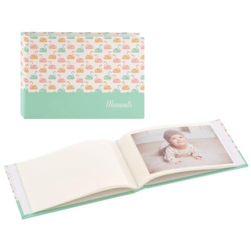HAMA - Mini album pochettes sans mémo SWAN - 24 pages blanches - 24 photos - Couverture Bleue 17,5x12cm