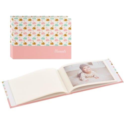 pochettes sans mémo Swan - 24 pages blanches - 24 photos - Couverture Dorée rose 17,5x12cm