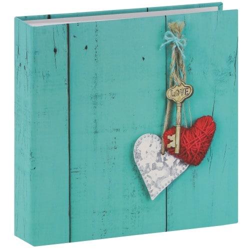 pochettes avec mémo Rustico Love Key - 100 pages blanches - 200 photos - Couverture Turquoise 22,5x22cm + poche CD