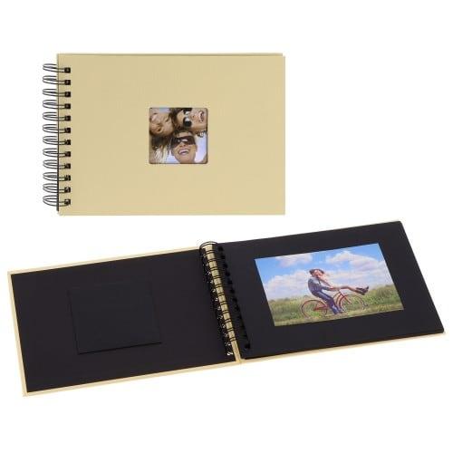 WALTHER DESIGN - Mini album traditionnel FUN - 20 pages noires - 40 photos - Couverture beige 17x23cm + fenêtre