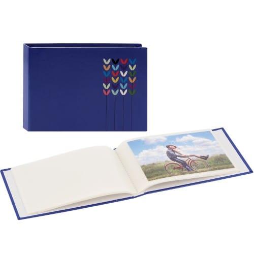 pochettes sans mémo Blossom - 24 pages blanches - 24 photos - Couverture Bleue 17,5x12cm