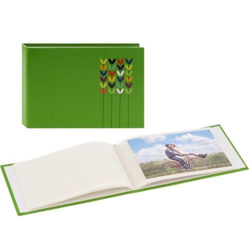 pochettes sans mémo Blossom - 24 pages blanches - 24 photos - Couverture Verte 17,5x12cm