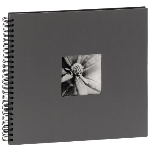 HAMA - Album photo traditionnel FINE ART SPIRAL - 50 pages noires + feuillets cristal - 300 photos - Couverture Grise 36x32cm + fenêtre