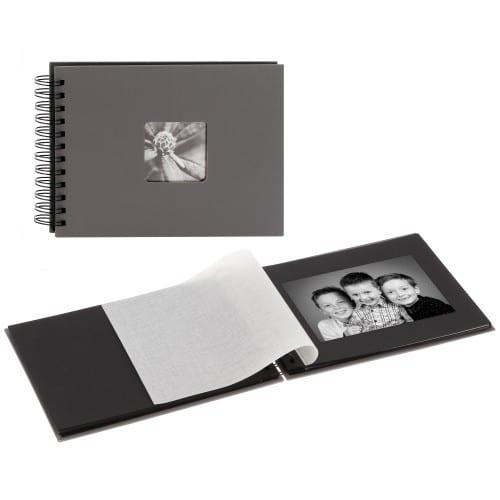 traditionnel Fine Art - 50 pages noires + feuillet cristal - 50 photos - Couverture Grise 24x17cm