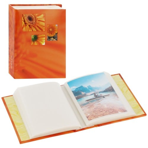 pochettes sans mémo Minimax Singo - 100 pages blanches - 100 photos - Couverture Orange 13x16,5cm