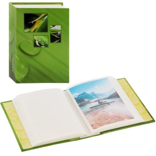 pochettes sans mémo Singo - 100 pages blanches - 100 photos - Couverture Verte 13x16,5cm