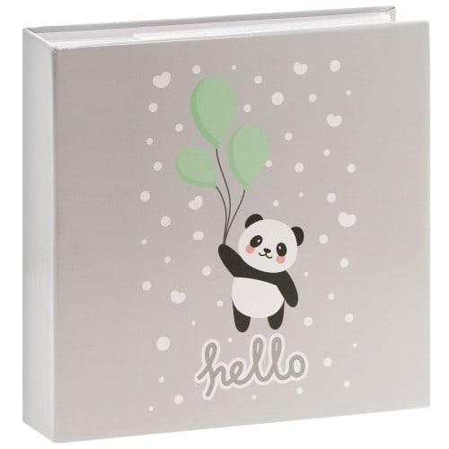 HAMA - Album photo pochettes avec mémo HELLO PANDA - 100 pages blanches - 200 photos - Couverture Grise 22,5x22cm