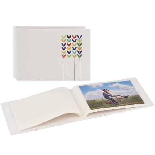 pochettes sans mémo Blossom - 24 pages blanches - 24 photos - Couverture Blanche 17,5x12cm