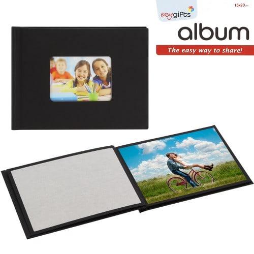 Mini album photo MITSUBISHI pré-encollé EasyAlbum - Noir avec fenêtre - Pour 12 tirages 15x20cm - Orientation paysage