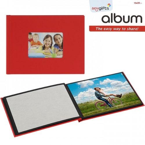 Mini album photo MITSUBISHI pré-encollé EasyAlbum - Rouge avec fenêtre - Pour 12 tirages 15x20cm - Orientation paysage