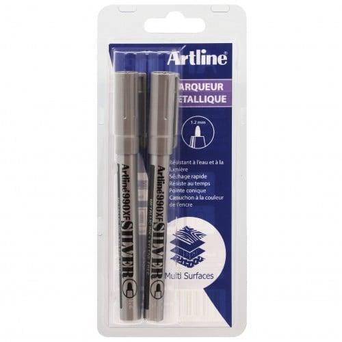 permanent indélébile - Pointe 1,2mm - Couleur argent - Blister de 2