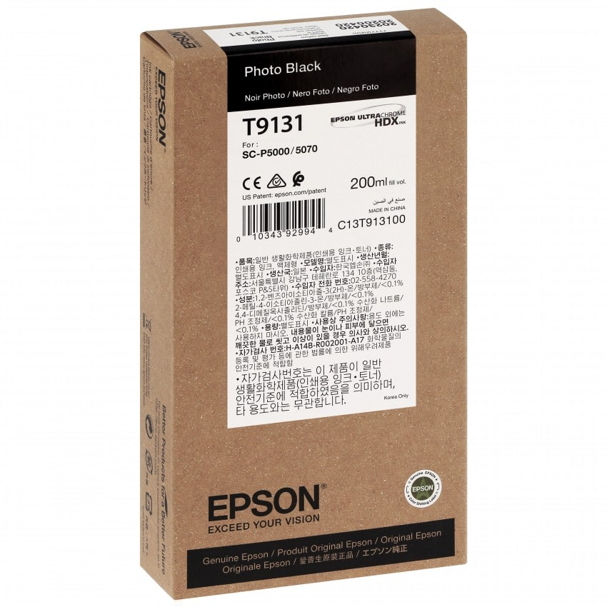 Cartouche d'encre traceur EPSON SC-P5000 - Noir Photo - 200ml - T9131