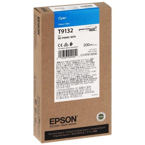 EPSON - Cartouche d'encre traceur SC-P5000 - Cyan - 200ml - T9132
