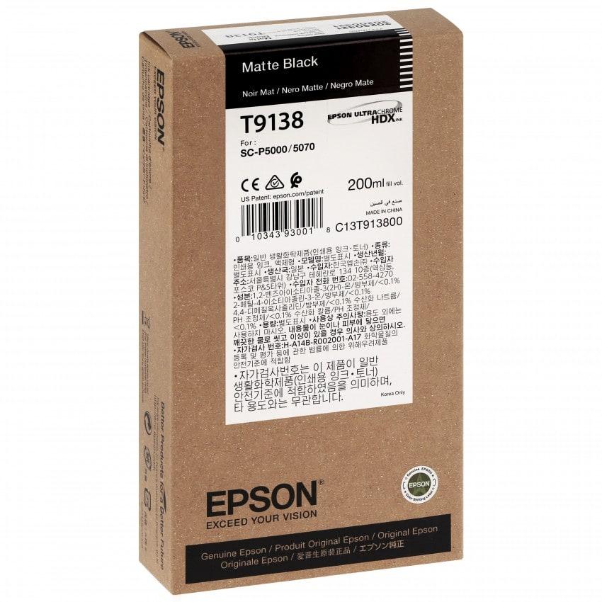 Cartouche d'encre traceur EPSON SC-P5000 - Noir Mat - 200ml - T9138