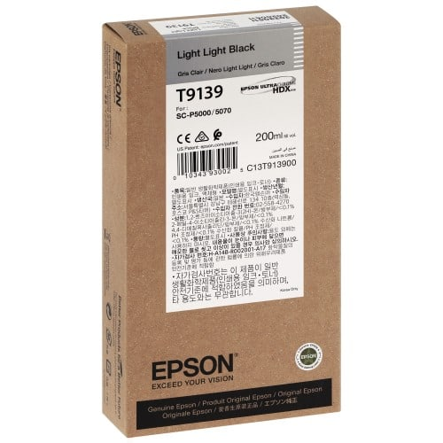 EPSON - Cartouche d'encre traceur SC-P5000 - Gris Clair - 200ml - T9139