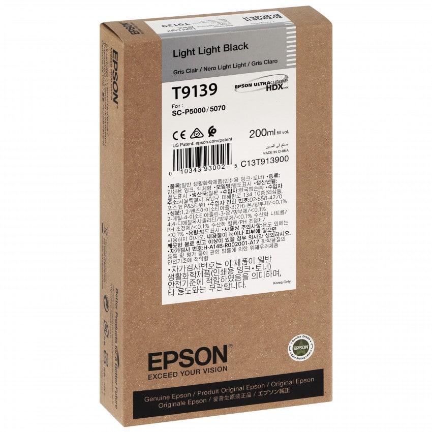 Cartouche d'encre traceur EPSON SC-P5000 - Gris Clair - 200ml - T9139
