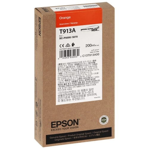 EPSON - Cartouche d'encre traceur SC-P5000 - Orange - 200ml - T913A
