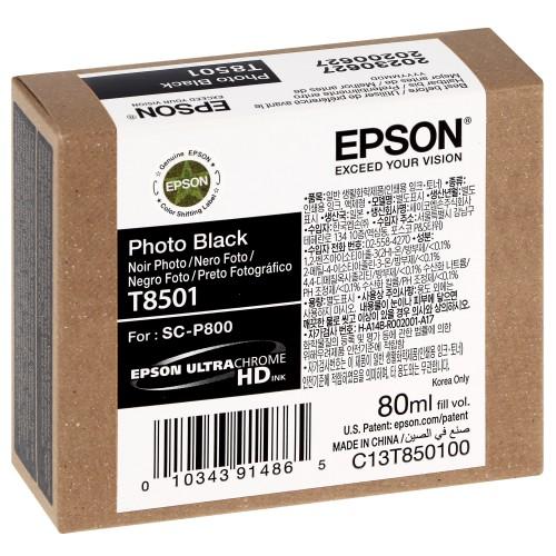 EPSON - Cartouche d'encre traceur SC-P800 - Noir Photo - 80ml - T8501
