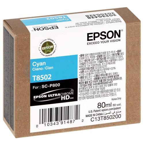 EPSON - Cartouche d'encre traceur SC-P800 - Cyan - 80ml - T8502