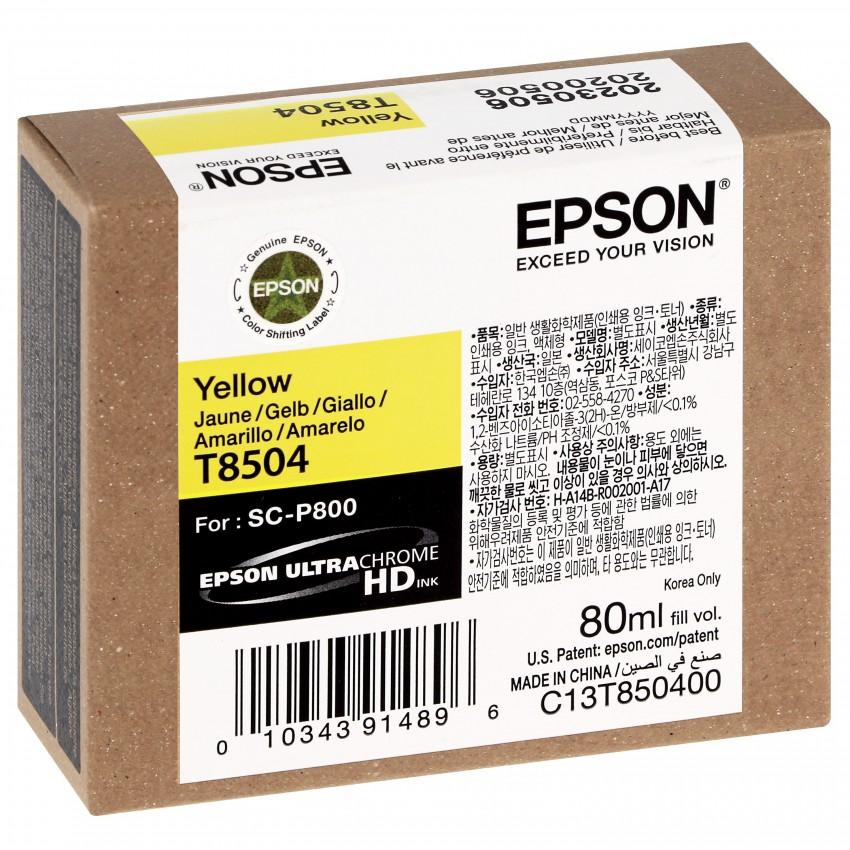 Cartouche d'encre traceur EPSON SC-P800 - Jaune - 80ml - T8504