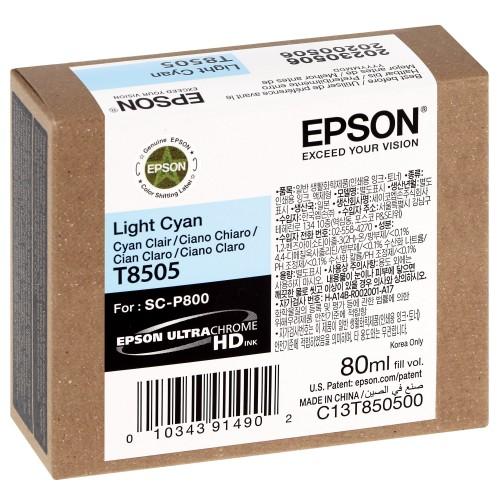 EPSON - Cartouche d'encre traceur SC-P800 - Cyan clair - 80ml - T8505
