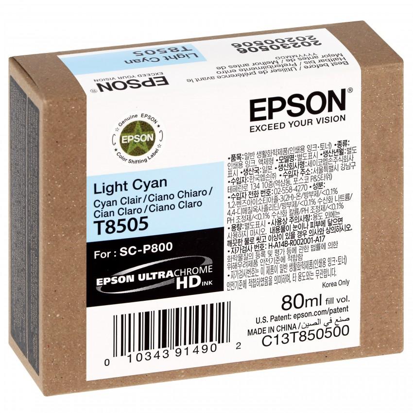 Cartouche d'encre traceur EPSON SC-P800 - Cyan clair - 80ml - T8505