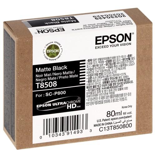 EPSON - Cartouche d'encre traceur SC-P800 - Noir Mat - 80ml - T8508