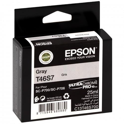 EPSON - Cartouche d'encre traceur UltraChrome Pro 10 SC-P700 - Gris - 25ml - T46S7