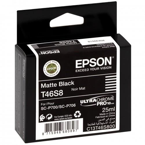 EPSON - Cartouche d'encre traceur UltraChrome Pro 10 SC-P700 - Noir mat - 25ml - T46S8