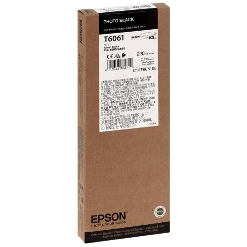 Cartouche d'encre traceur EPSON T6061 Pour imprimante 4800/4880 Noir Photo - 220ml