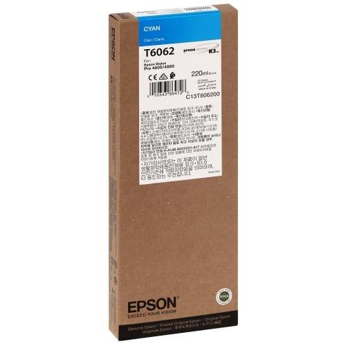 Cartouche d'encre traceur EPSON T6062 Pour imprimante 4800/4880 Cyan - 220ml