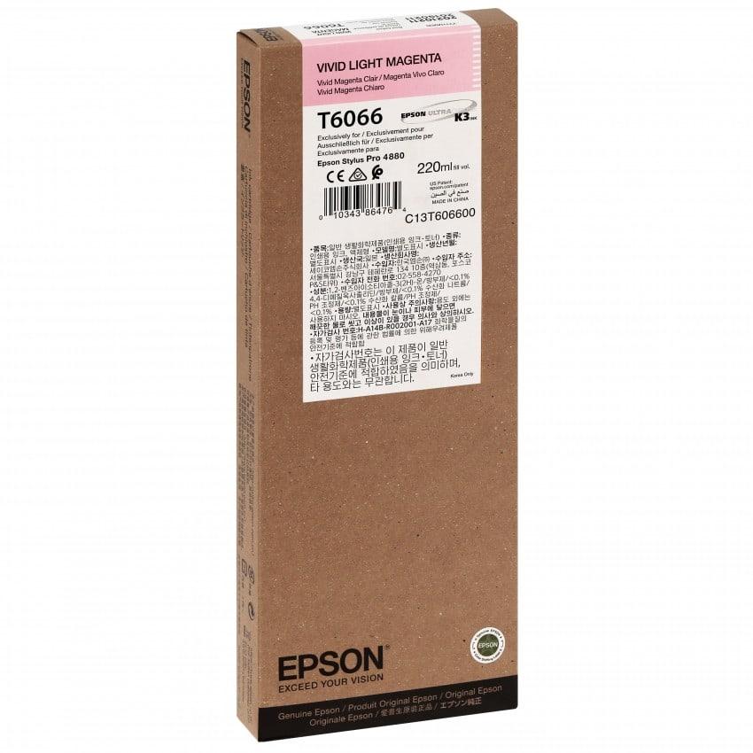 Cartouche d'encre traceur EPSON T6066 Pour imprimante 4880 Vivid Magenta clair - 220ml