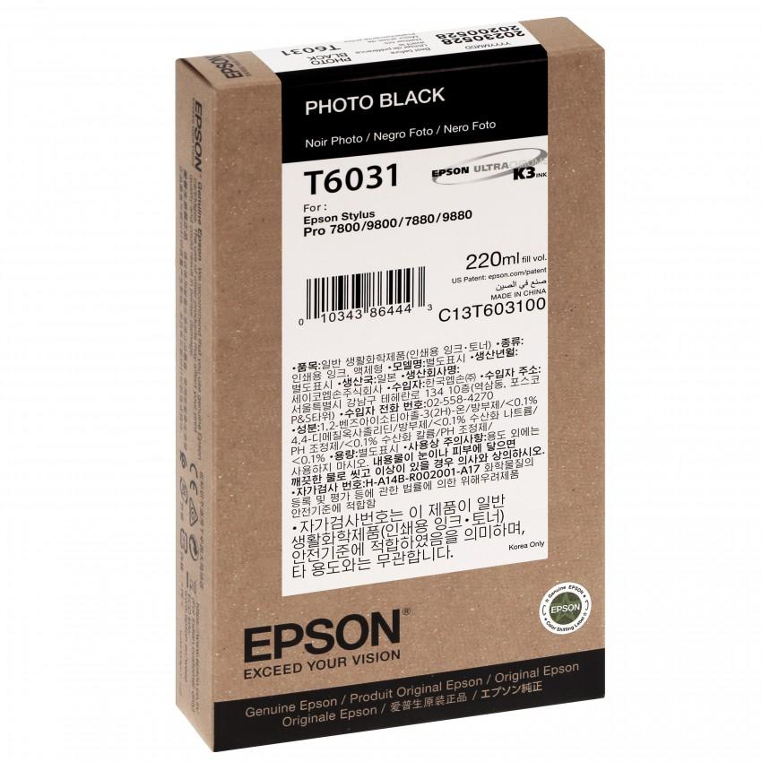 Cartouche d'encre traceur EPSON T6031 Pour imprimante 7800/7880/9800/9880 Noir Photo - 220ml