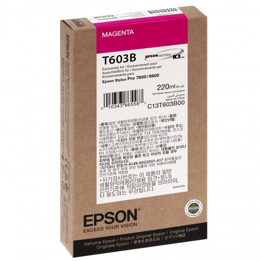 Cartouche d'encre traceur EPSON T603B Pour imprimante 7800/9800 Magenta - 220ml