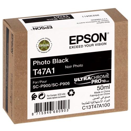 EPSON - Cartouche d'encre traceur UltraChrome Pro 10 SC-P900 - Noir photo - 50ml - T47A1