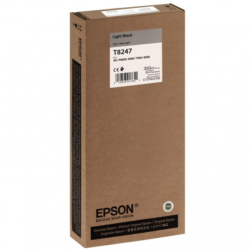Cartouche d'encre traceur EPSON T8247 Pour imprimante SC-P6000/7000/8000/9000 Light noir - 350ml
