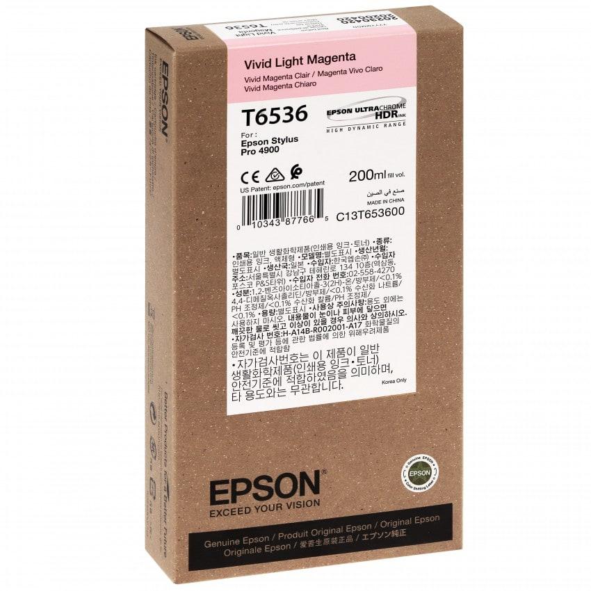 Cartouche d'encre traceur EPSON T6536 Pour imprimante 4900 Vivid Magenta clair - 200ml