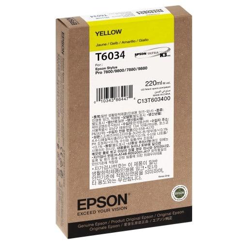 Cartouche d'encre traceur EPSON T6034 Pour imprimante 7800/7880/9800/9880 Jaune - 220ml